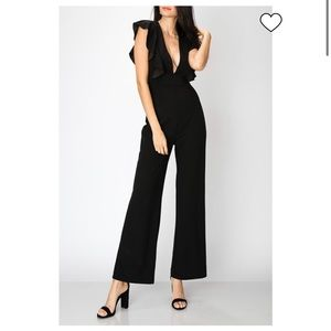 Favlux Black Deep V-neck Wide Leg Jumpsuit NWT